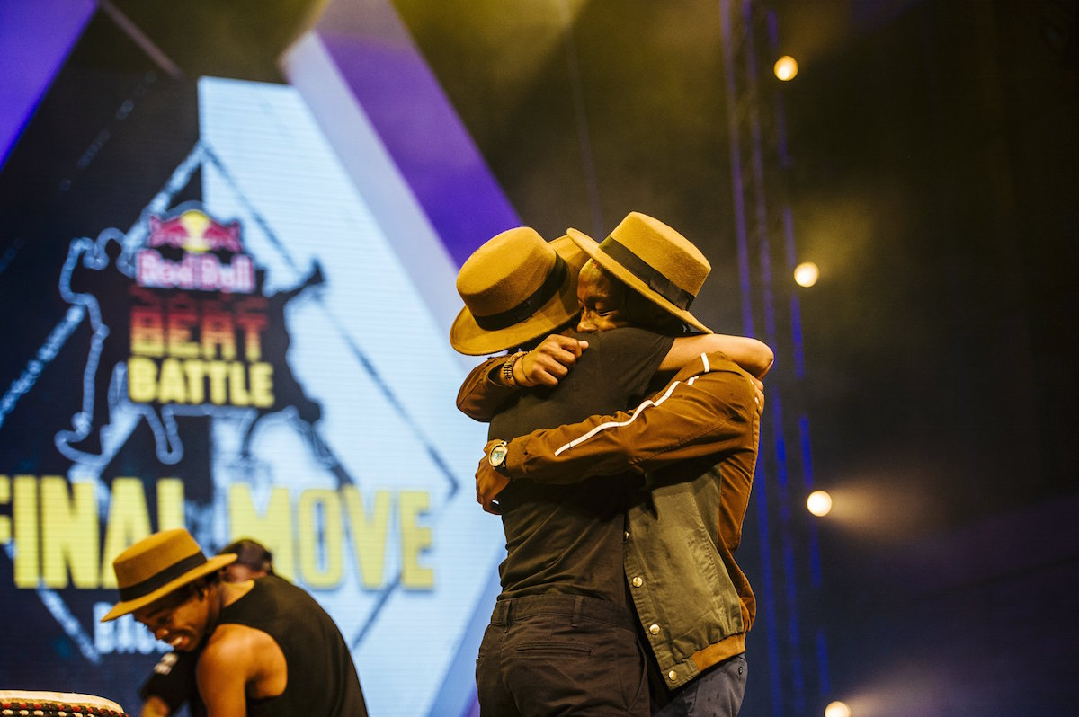 Soulistic Fusion share an emotional moment after winning the Red Bull Beat Battle at Walter Sisulu Square in Soweto, South Africa on November 21, 2015. // Tyrone Bradley/Red Bull Content Pool // P-20151123-00122 // Usage for editorial use only // Please go to www.redbullcontentpool.com for further information. //
