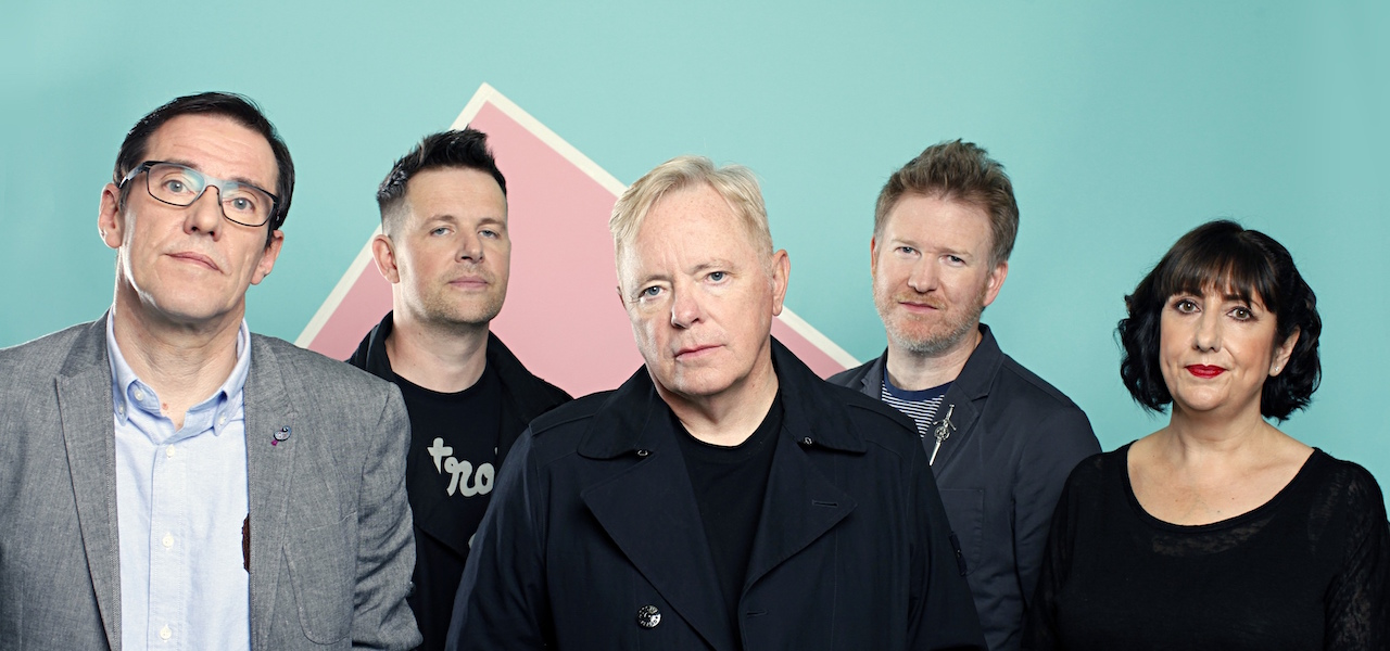 New New Order: Stephen Morris, Tom Chapman, Bernard Sumner, Phil Cunningham and Gillian Gilbert.